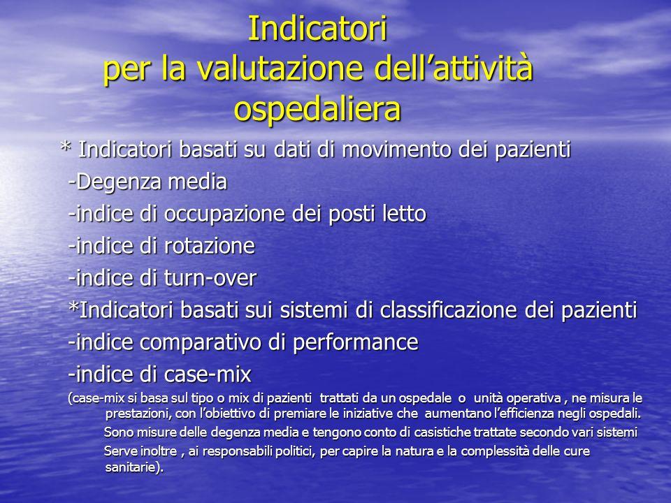 Indicatori per la valutazione dellattività ospedaliera * Indicatori basati su dati di movimento dei pazienti * Indicatori basati su dati di movimento