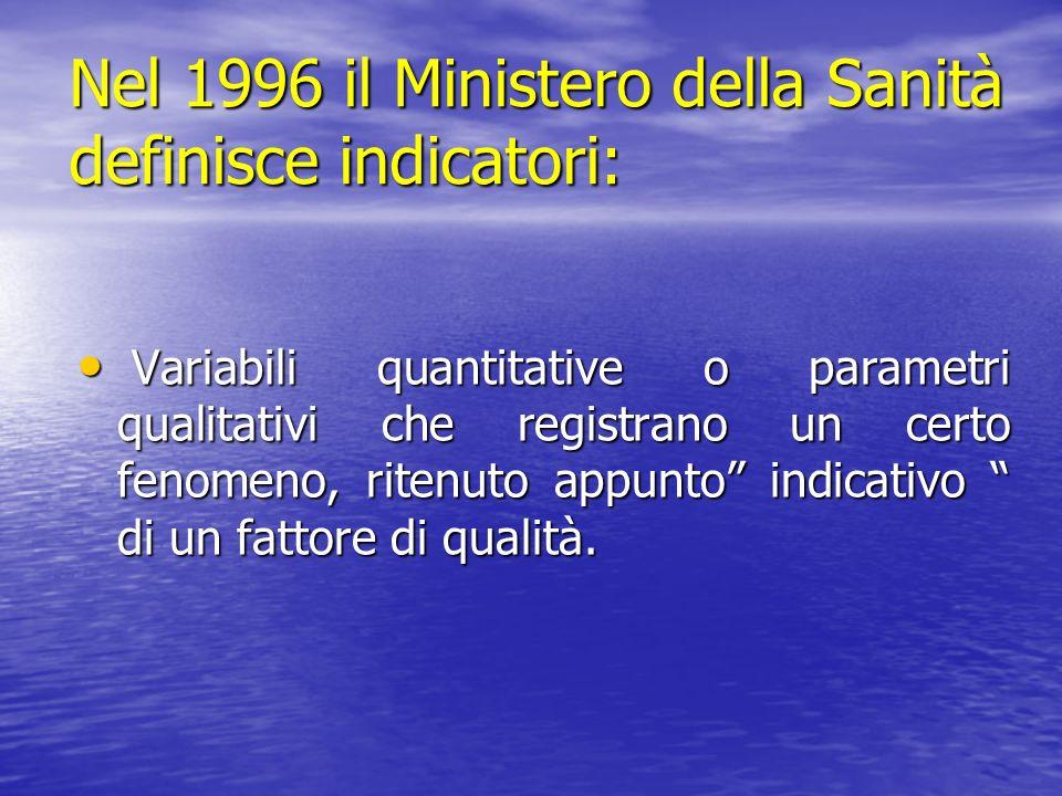 Nel 1996 il Ministero della Sanità definisce indicatori: Variabili quantitative o parametri qualitativi che registrano un certo fenomeno, ritenuto app
