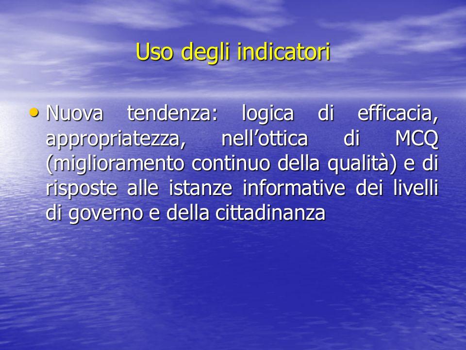 Uso degli indicatori Nuova tendenza: logica di efficacia, appropriatezza, nellottica di MCQ (miglioramento continuo della qualità) e di risposte alle