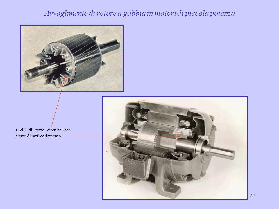 28 Motore di potenza con rotore a gabbia 25 I motori asincroni sono ormai, nella quasi totalità, costruiti a gabbia, ed in particolare a doppia gabbia, anche per macchine di potenza (centinaia di kW)