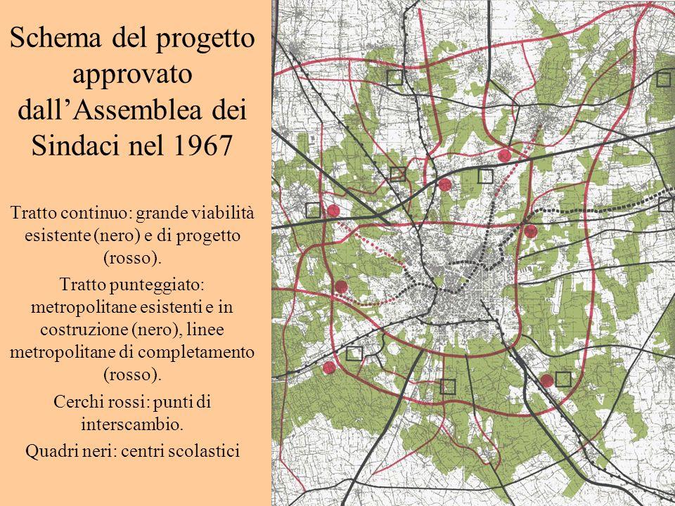 Schema del progetto approvato dallAssemblea dei Sindaci nel 1967 Tratto continuo: grande viabilità esistente (nero) e di progetto (rosso). Tratto punt