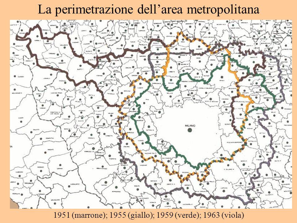 La perimetrazione dellarea metropolitana 1951 (marrone); 1955 (giallo); 1959 (verde); 1963 (viola)