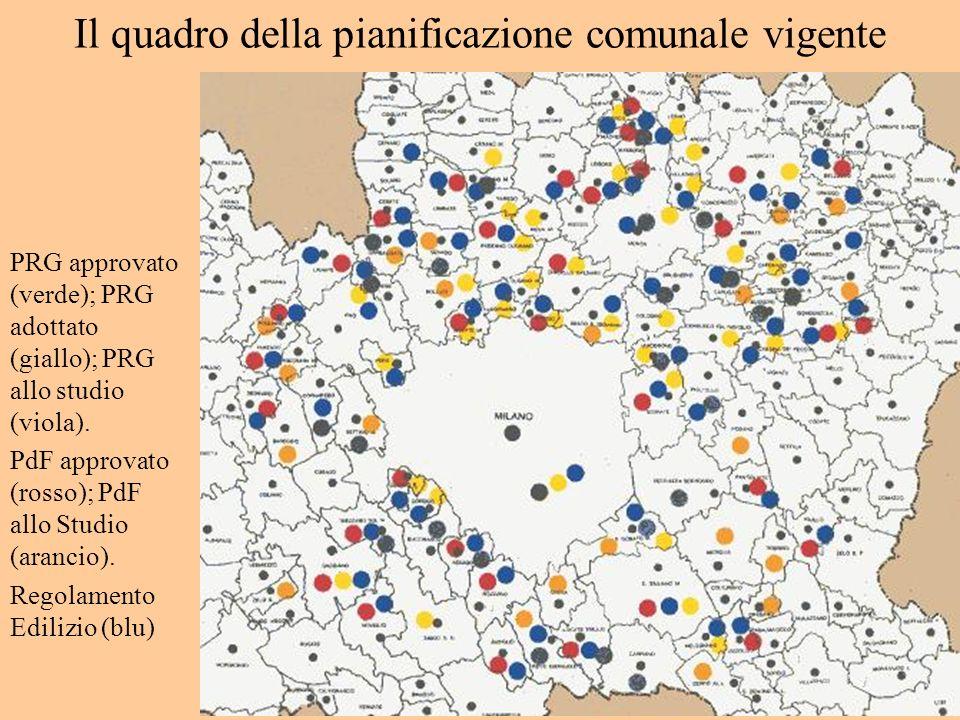 Il quadro della pianificazione comunale vigente PRG approvato (verde); PRG adottato (giallo); PRG allo studio (viola). PdF approvato (rosso); PdF allo