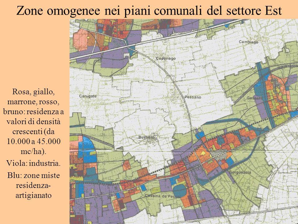 Zone omogenee nei piani comunali del settore Est Rosa, giallo, marrone, rosso, bruno: residenza a valori di densità crescenti (da 10.000 a 45.000 mc/h