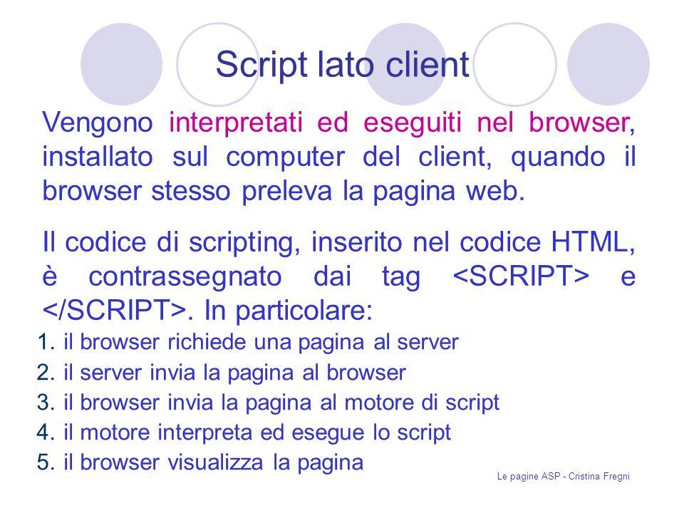 Le pagine ASP - Cristina Fregni Inserimento nuovi record Per inserire nuovi record allinterno del database si utilizzano due metodi delloggetto Recordset: AddNew e Update.