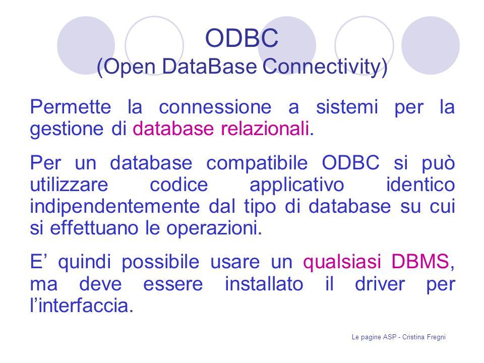 Le pagine ASP - Cristina Fregni ODBC (Open DataBase Connectivity) Permette la connessione a sistemi per la gestione di database relazionali.