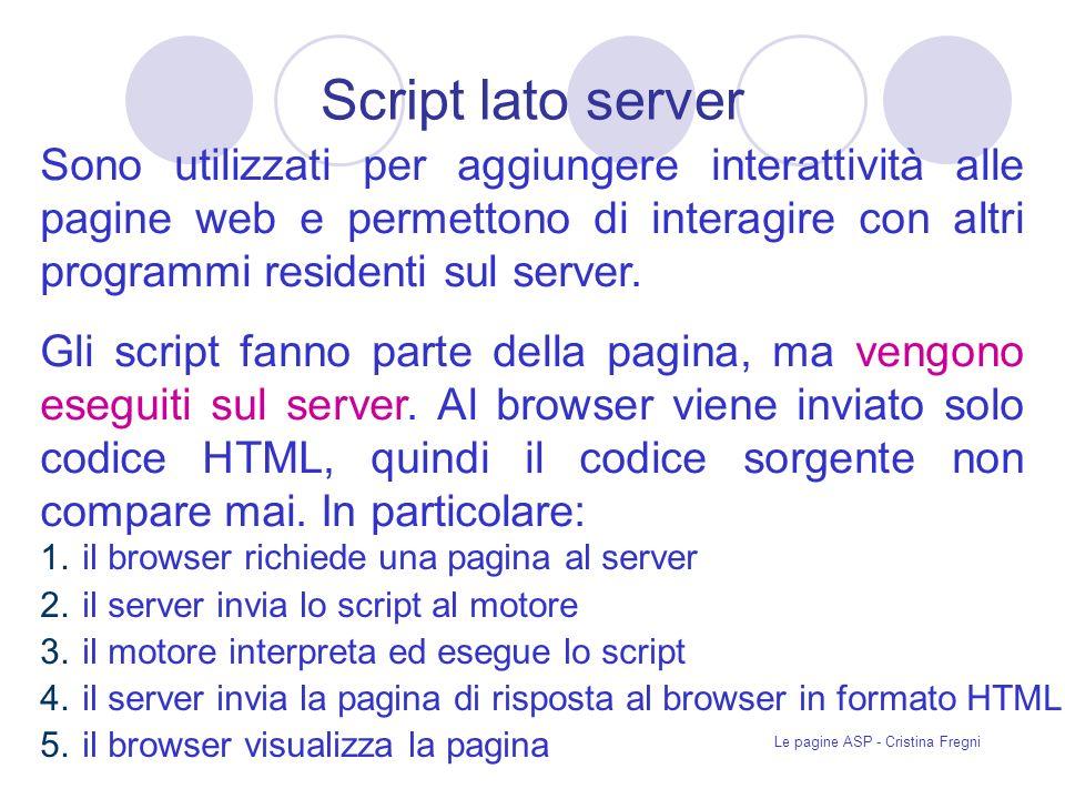 Le pagine ASP - Cristina Fregni ADO (ActiveX Data Object) Tecnologia orientata agli oggetti che definisce uninterfaccia di programmazione tra una applicazione ASP, in esecuzione in un sito Web, e i sistemi per la gestione di database (DBMS).