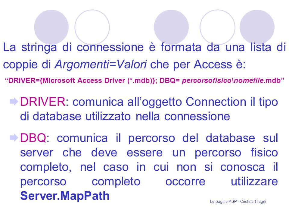Le pagine ASP - Cristina Fregni La stringa di connessione è formata da una lista di coppie di Argomenti=Valori che per Access è: DRIVER={Microsoft Access Driver (*.mdb)}; DBQ= percorsofisico\nomefile.mdb DRIVER: comunica alloggetto Connection il tipo di database utilizzato nella connessione DBQ: comunica il percorso del database sul server che deve essere un percorso fisico completo, nel caso in cui non si conosca il percorso completo occorre utilizzare Server.MapPath