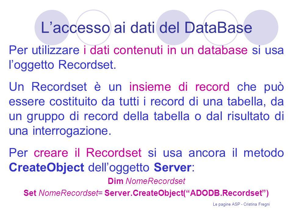 Le pagine ASP - Cristina Fregni Laccesso ai dati del DataBase Per utilizzare i dati contenuti in un database si usa loggetto Recordset.