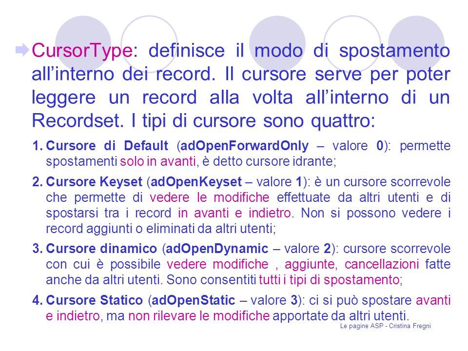 Le pagine ASP - Cristina Fregni CursorType: definisce il modo di spostamento allinterno dei record.