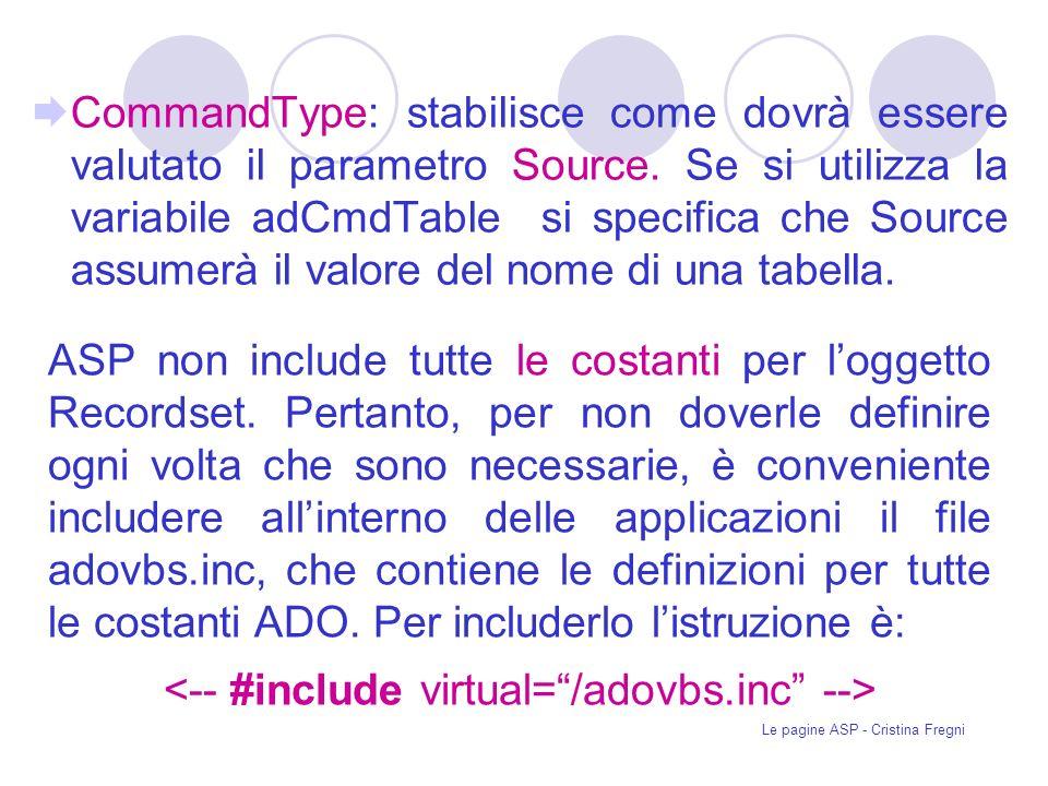 Le pagine ASP - Cristina Fregni CommandType: stabilisce come dovrà essere valutato il parametro Source.