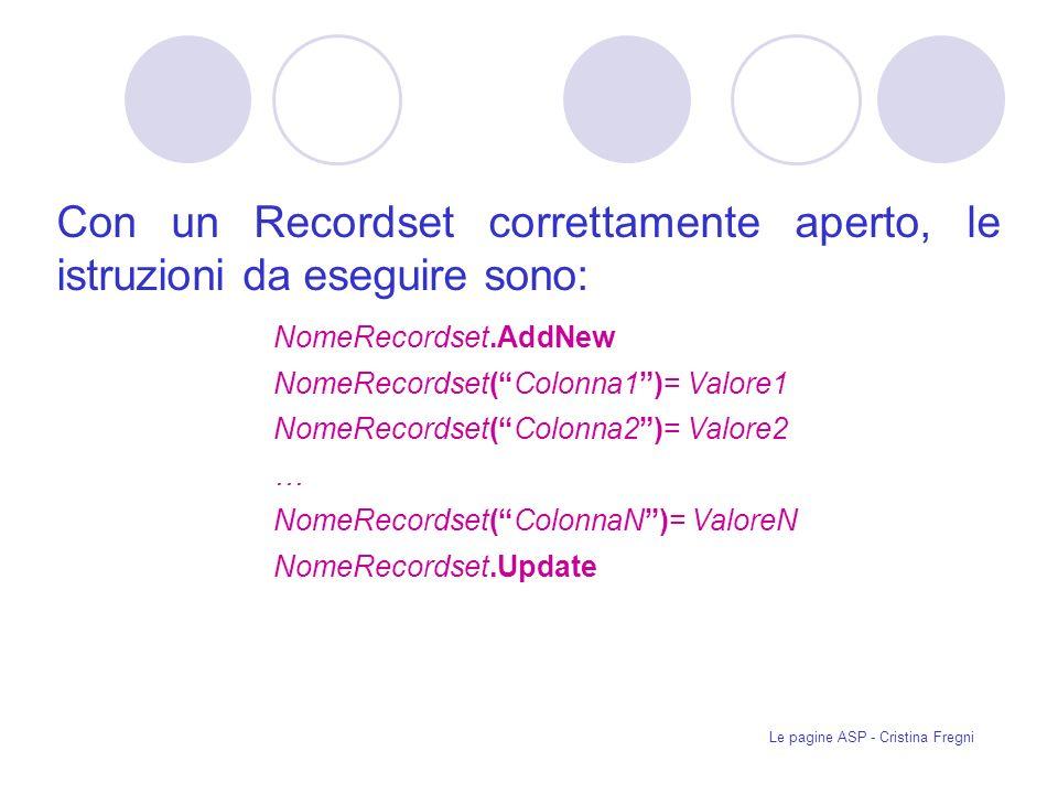 Le pagine ASP - Cristina Fregni Con un Recordset correttamente aperto, le istruzioni da eseguire sono: NomeRecordset.AddNew NomeRecordset(Colonna1)= Valore1 NomeRecordset(Colonna2)= Valore2 … NomeRecordset(ColonnaN)= ValoreN NomeRecordset.Update