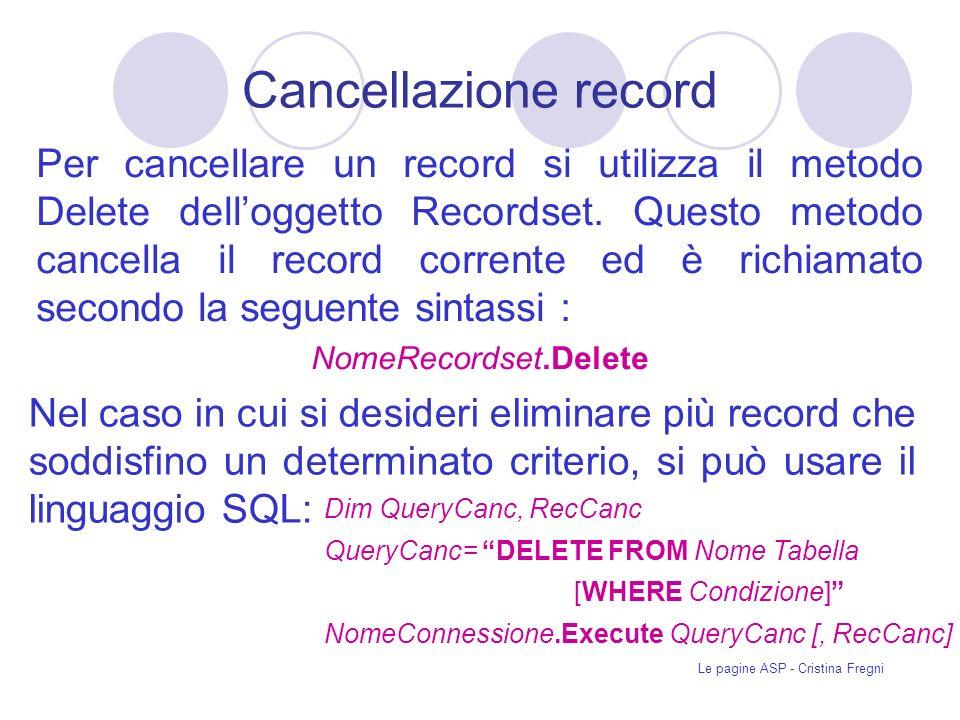 Le pagine ASP - Cristina Fregni Cancellazione record Per cancellare un record si utilizza il metodo Delete delloggetto Recordset.