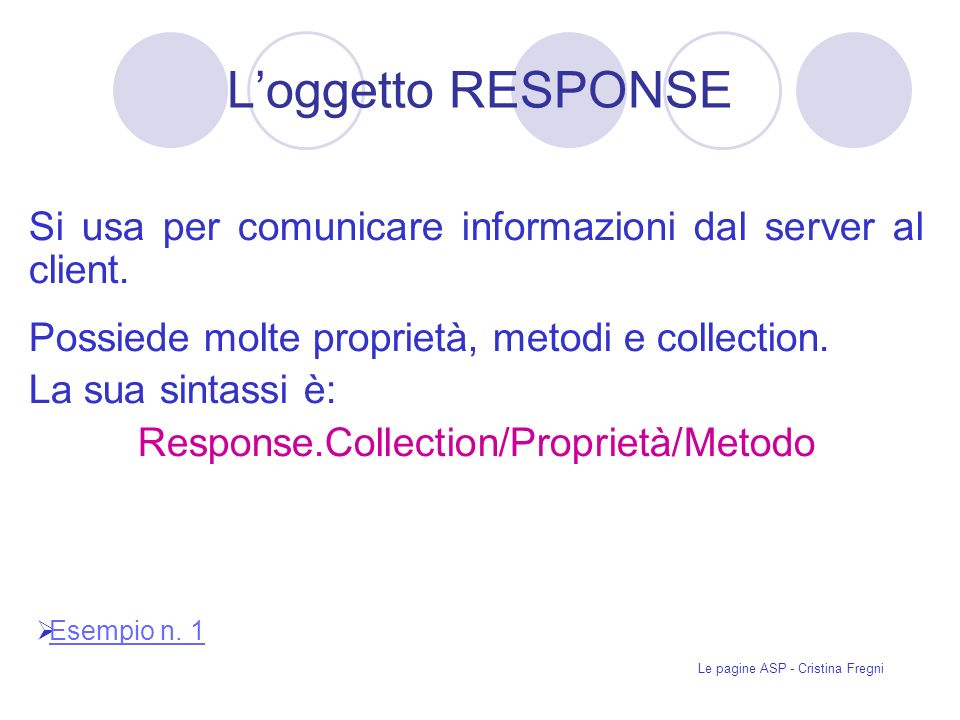 Le pagine ASP - Cristina Fregni Loggetto RESPONSE Si usa per comunicare informazioni dal server al client.