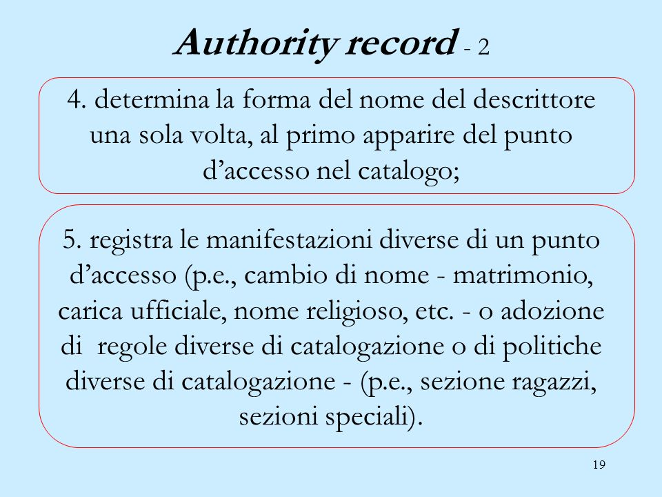 19 Authority record - 2 4.