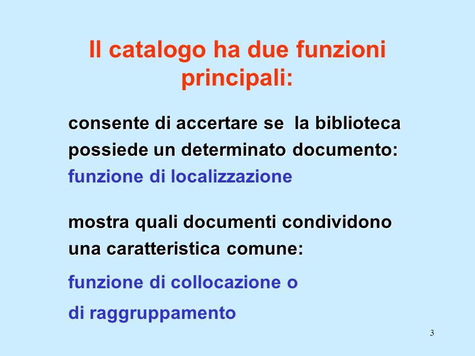 14 Ha lo scopo di: 1.fornire struttura sindetica (relazionale) e coerenza al catalogo 2.