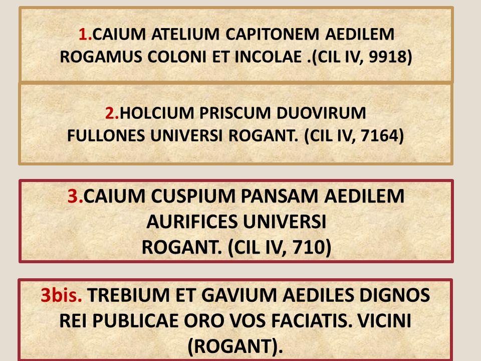 1.CAIUM ATELIUM CAPITONEM AEDILEM ROGAMUS COLONI ET INCOLAE.(CIL IV, 9918) 2.HOLCIUM PRISCUM DUOVIRUM FULLONES UNIVERSI ROGANT. (CIL IV, 7164) 3.CAIUM