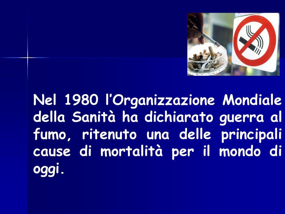 Nel 1980 lOrganizzazione Mondiale della Sanità ha dichiarato guerra al fumo, ritenuto una delle principali cause di mortalità per il mondo di oggi.