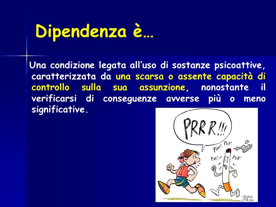 Dipendenza è… Una condizione legata alluso di sostanze psicoattive, caratterizzata da una scarsa o assente capacità di controllo sulla sua assunzione,