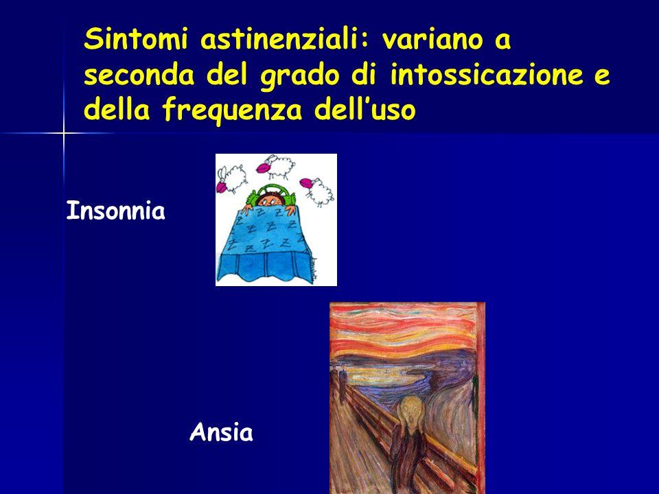 Sintomi astinenziali: variano a seconda del grado di intossicazione e della frequenza delluso Insonnia Ansia