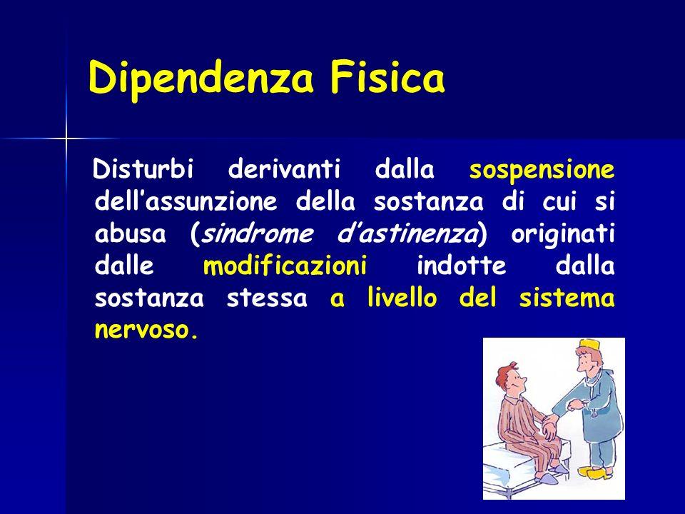 Dipendenza Fisica Disturbi derivanti dalla sospensione dellassunzione della sostanza di cui si abusa (sindrome dastinenza) originati dalle modificazio