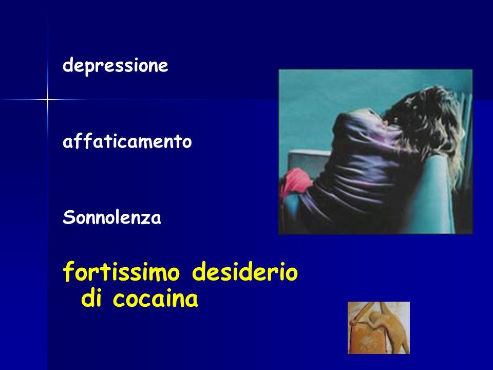 depressione affaticamento Sonnolenza fortissimo desiderio di cocaina