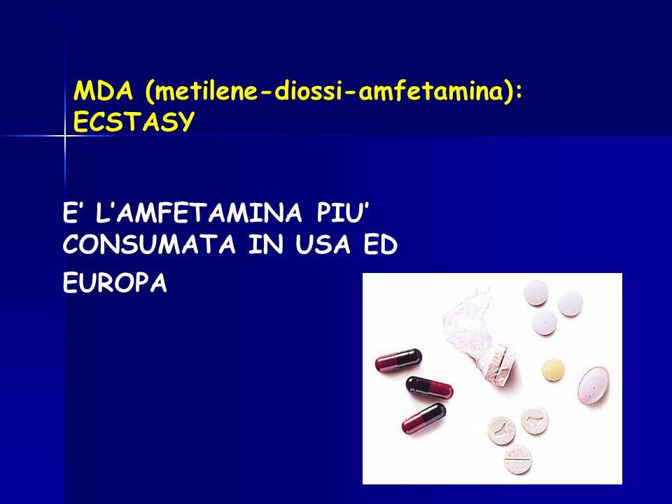 MDA (metilene-diossi-amfetamina): ECSTASY E LAMFETAMINA PIU CONSUMATA IN USA ED EUROPA