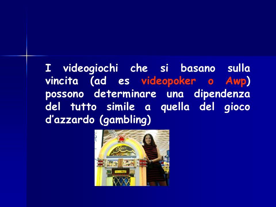 I videogiochi che si basano sulla vincita (ad es videopoker o Awp) possono determinare una dipendenza del tutto simile a quella del gioco dazzardo (ga
