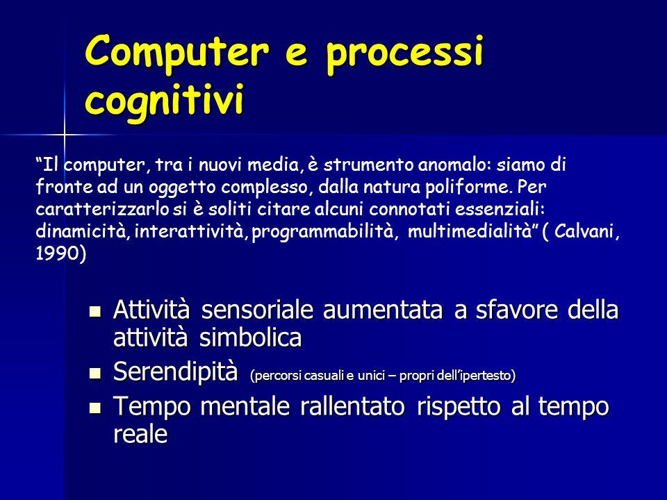 Computer e processi cognitivi Attività sensoriale aumentata a sfavore della attività simbolica Attività sensoriale aumentata a sfavore della attività