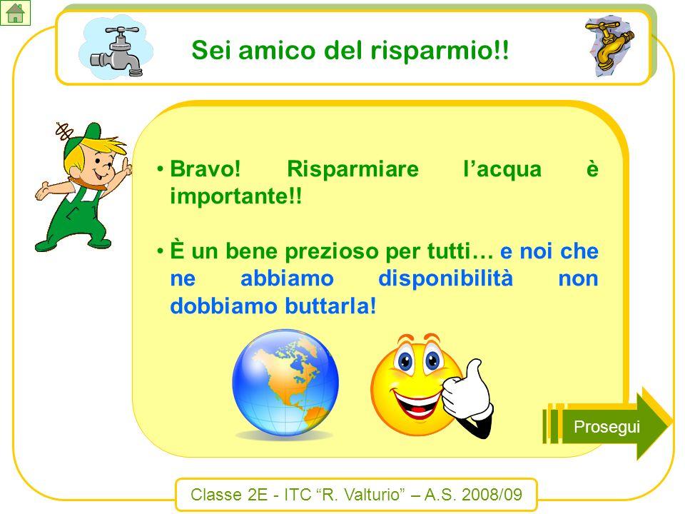 Classe 2E - ITC R. Valturio – A.S. 2008/09 Sei amico del risparmio!! Bravo! Risparmiare lacqua è importante!! È un bene prezioso per tutti… e noi che