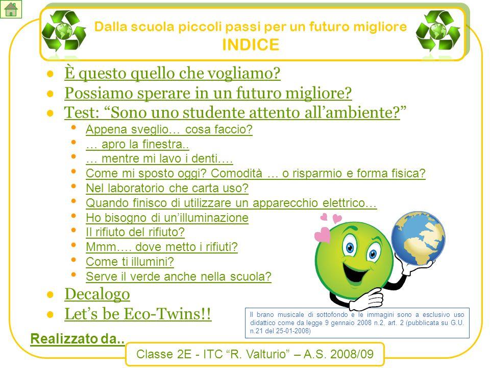 Classe 2E - ITC R. Valturio – A.S. 2008/09 Dalla scuola piccoli passi per un futuro migliore INDICE È questo quello che vogliamo? Possiamo sperare in