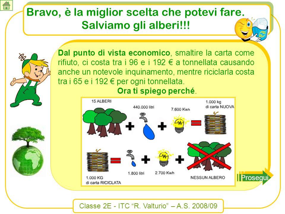 Classe 2E - ITC R. Valturio – A.S. 2008/09 Bravo, è la miglior scelta che potevi fare. Salviamo gli alberi!!! Prosegui Dal punto di vista economico, s