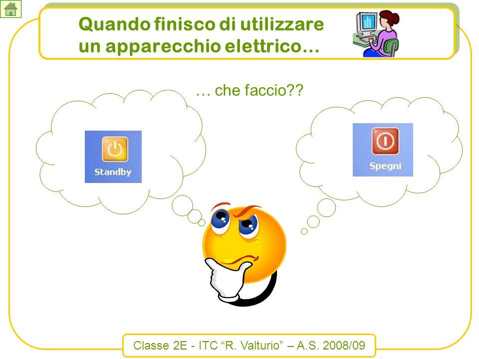 Classe 2E - ITC R. Valturio – A.S. 2008/09 Quando finisco di utilizzare un apparecchio elettrico… … che faccio??