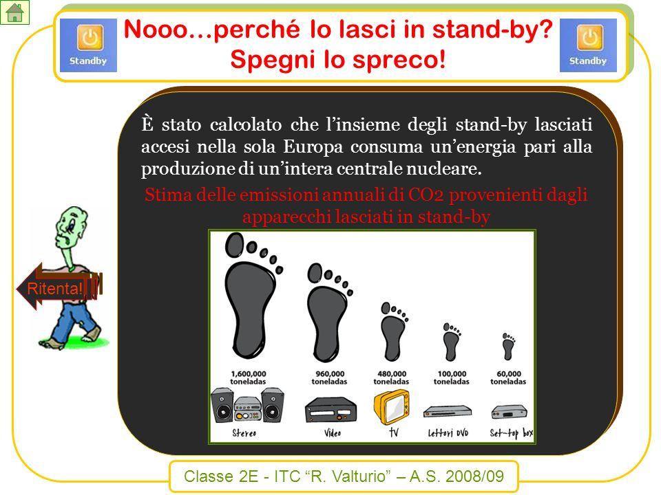 Classe 2E - ITC R. Valturio – A.S. 2008/09 Nooo…perché lo lasci in stand-by? Spegni lo spreco! È stato calcolato che linsieme degli stand-by lasciati