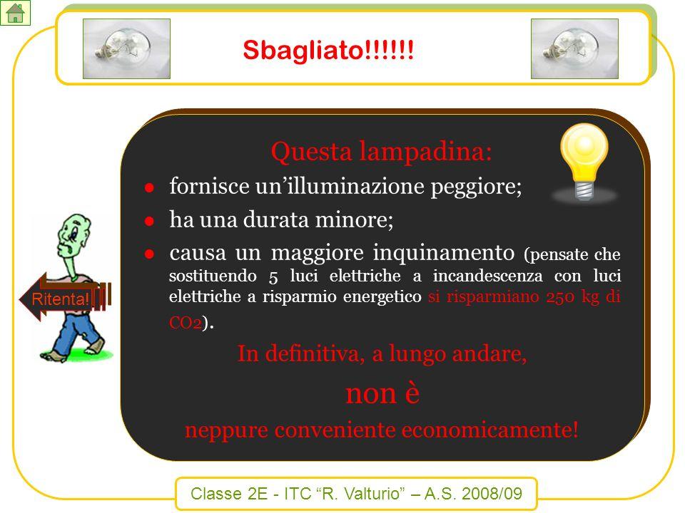 Classe 2E - ITC R. Valturio – A.S. 2008/09 Sbagliato!!!!!! Questa lampadina: fornisce unilluminazione peggiore; ha una durata minore; causa un maggior