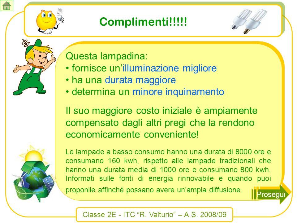 Classe 2E - ITC R. Valturio – A.S. 2008/09 Complimenti!!!!! Questa lampadina: fornisce unilluminazione migliore fornisce unilluminazione migliore ha u