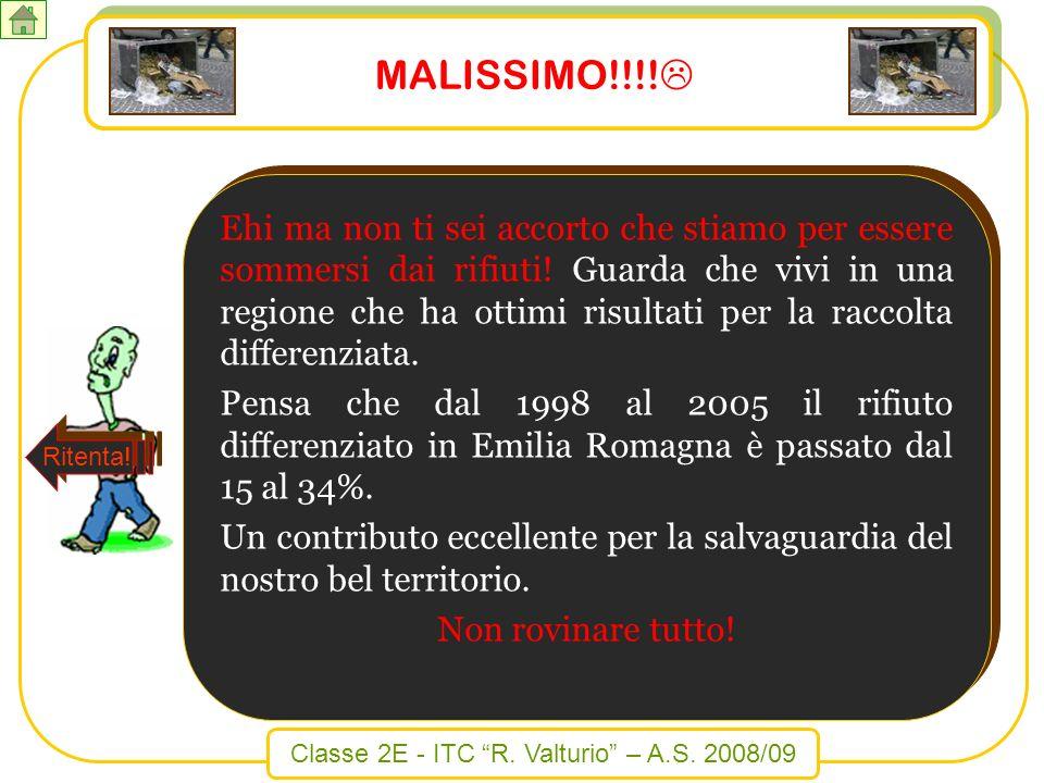 Classe 2E - ITC R. Valturio – A.S. 2008/09 MALISSIMO!!!! Ehi ma non ti sei accorto che stiamo per essere sommersi dai rifiuti! Guarda che vivi in una