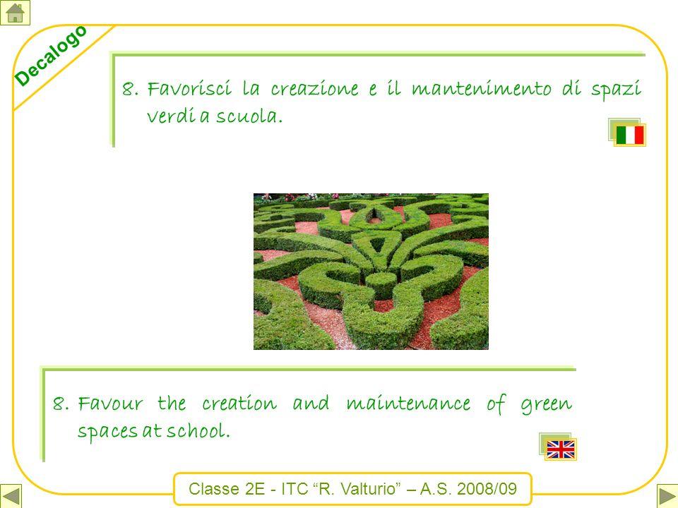 Classe 2E - ITC R. Valturio – A.S. 2008/09 Decalogo 8.Favorisci la creazione e il mantenimento di spazi verdi a scuola. 8.Favour the creation and main