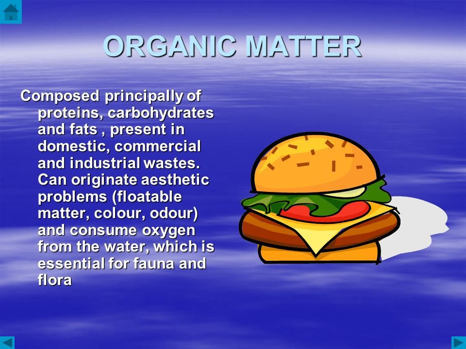 ORGANIC MATTER Composed principally of proteins, carbohydrates and fats, present in domestic, commercial and industrial wastes. Can originate aestheti
