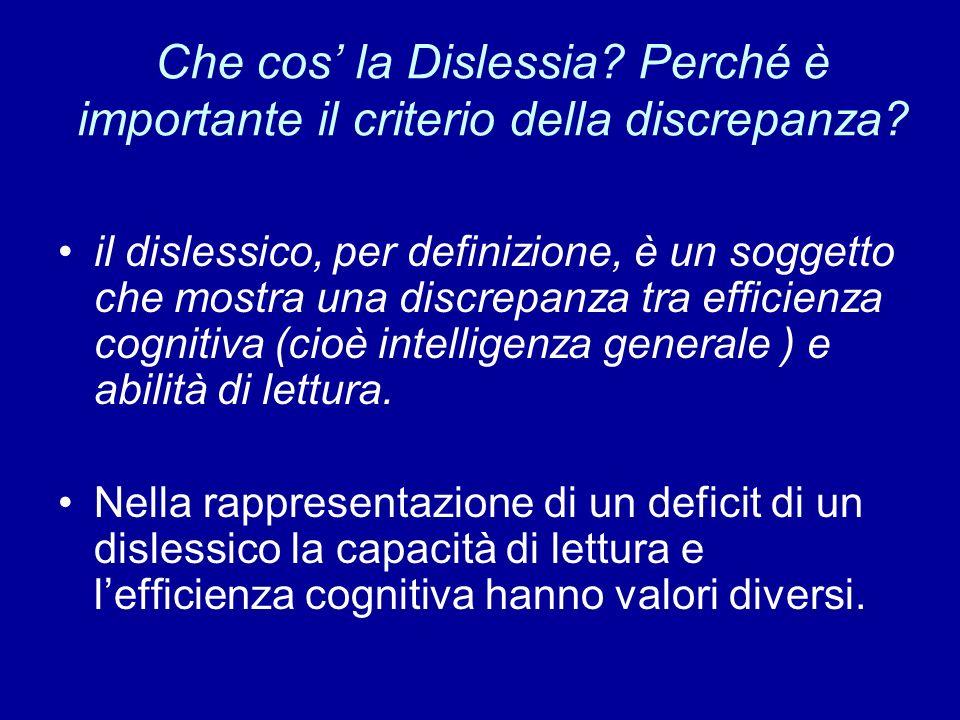 Che cos la Dislessia? Perché è importante il criterio della discrepanza? il dislessico, per definizione, è un soggetto che mostra una discrepanza tra