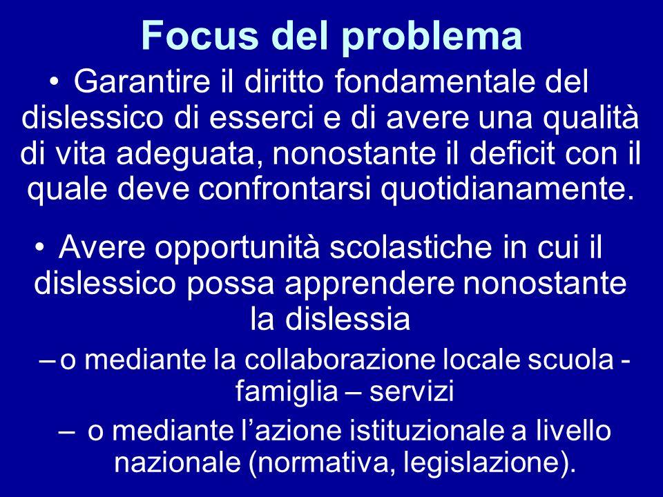 Focus del problema Garantire il diritto fondamentale del dislessico di esserci e di avere una qualità di vita adeguata, nonostante il deficit con il quale deve confrontarsi quotidianamente.