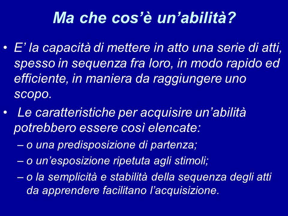 Ma che cosè unabilità? E la capacità di mettere in atto una serie di atti, spesso in sequenza fra loro, in modo rapido ed efficiente, in maniera da ra