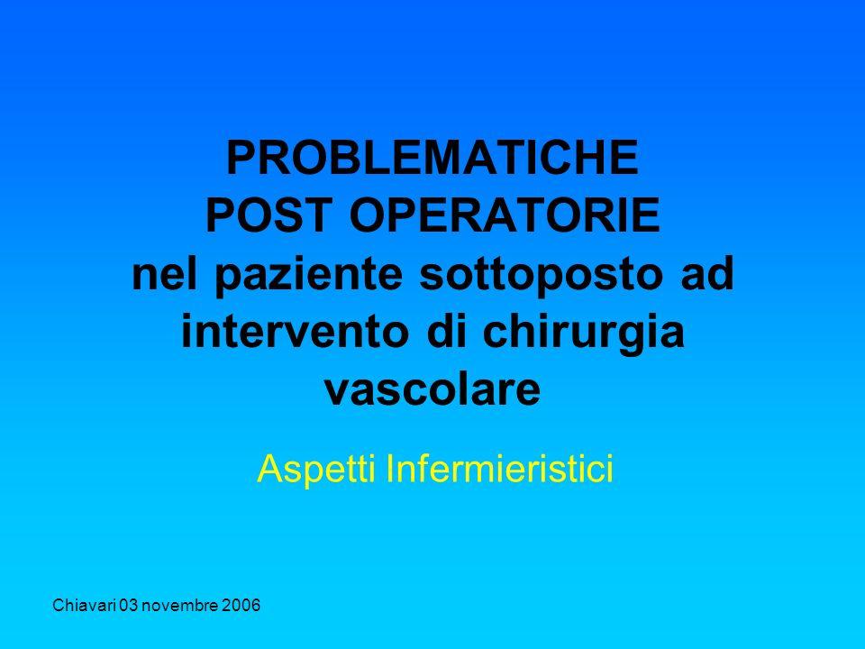 Chiavari 03 novembre 2006 PROBLEMATICHE POST OPERATORIE nel paziente sottoposto ad intervento di chirurgia vascolare Aspetti Infermieristici