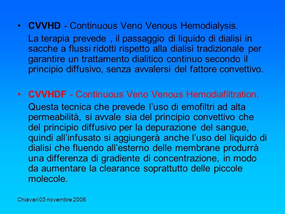 Chiavari 03 novembre 2006 CVVHD - Continuous Veno Venous Hemodialysis. La terapia prevede, il passaggio di liquido di dialisi in sacche a flussi ridot