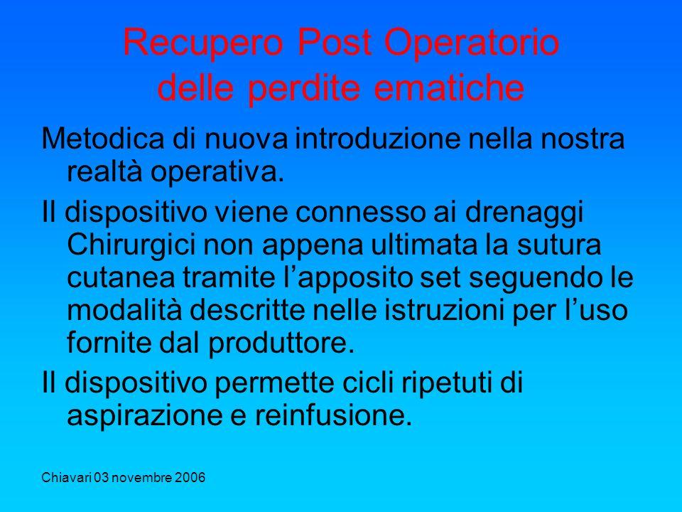 Chiavari 03 novembre 2006 Recupero Post Operatorio delle perdite ematiche Metodica di nuova introduzione nella nostra realtà operativa. Il dispositivo