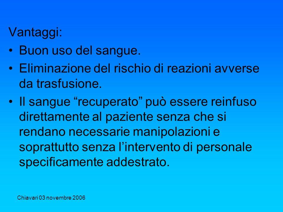 Chiavari 03 novembre 2006 Vantaggi: Buon uso del sangue. Eliminazione del rischio di reazioni avverse da trasfusione. Il sangue recuperato può essere