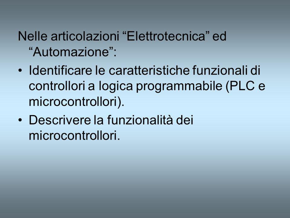 Nelle articolazioni Elettrotecnica ed Automazione: Identificare le caratteristiche funzionali di controllori a logica programmabile (PLC e microcontro