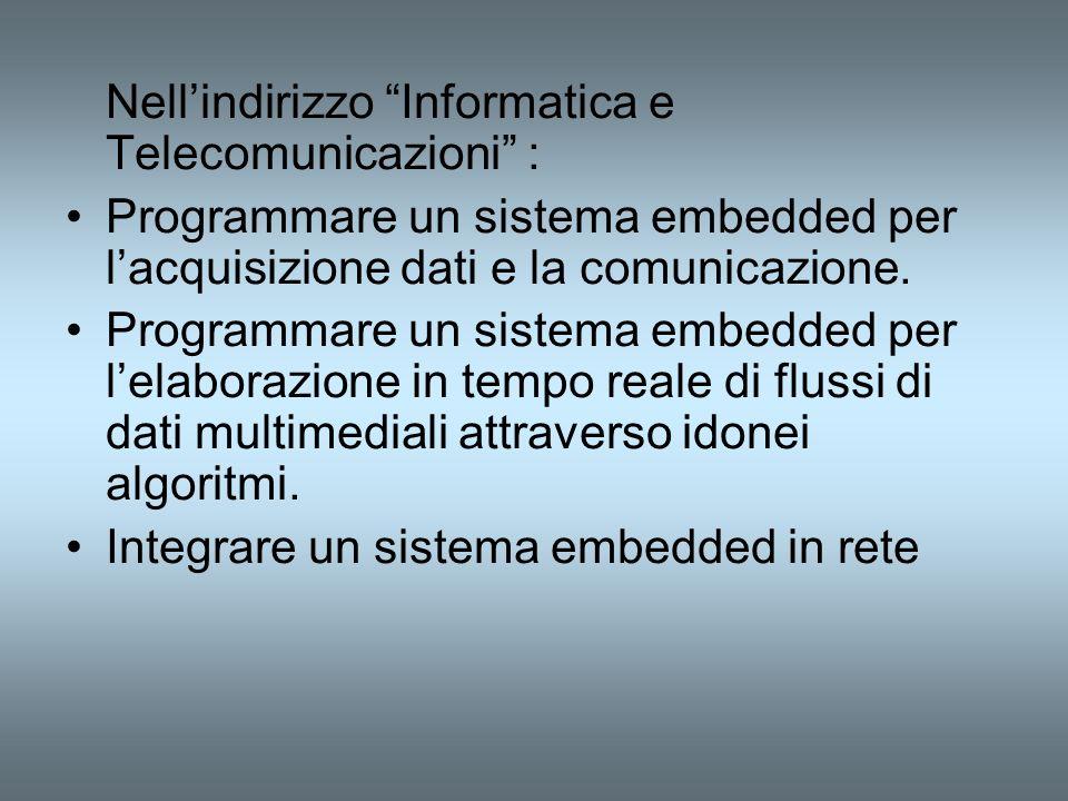 Nellindirizzo Informatica e Telecomunicazioni : Programmare un sistema embedded per lacquisizione dati e la comunicazione. Programmare un sistema embe