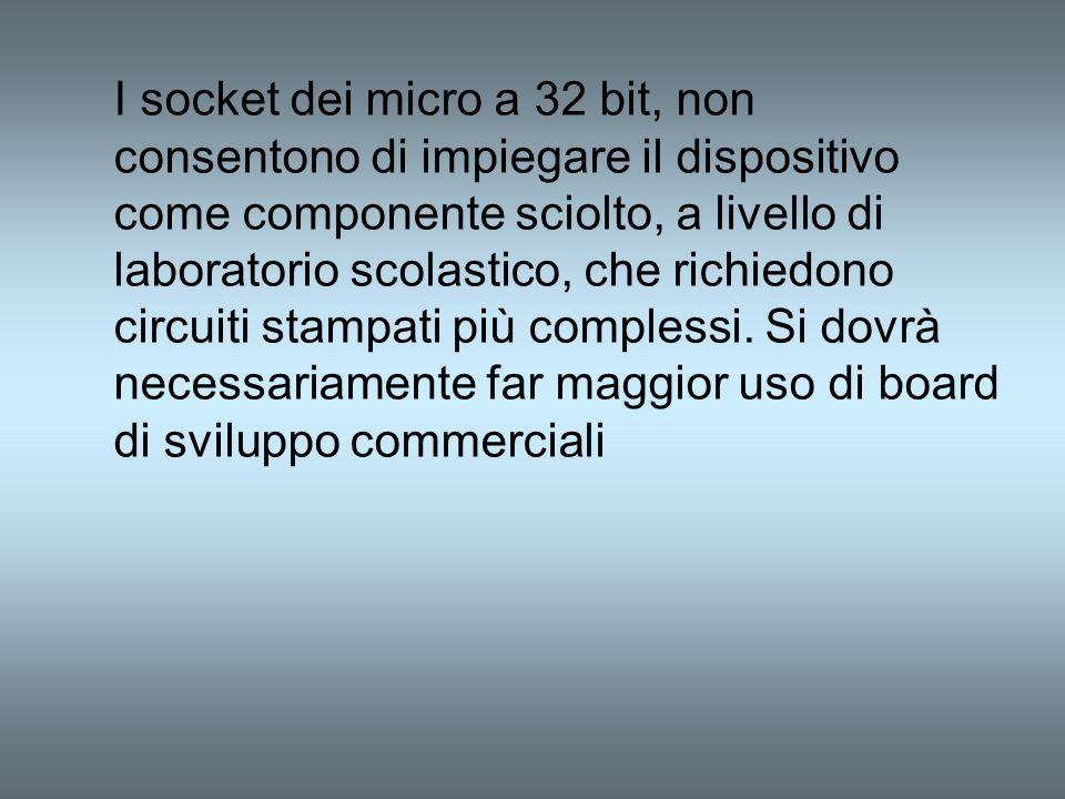 I socket dei micro a 32 bit, non consentono di impiegare il dispositivo come componente sciolto, a livello di laboratorio scolastico, che richiedono c