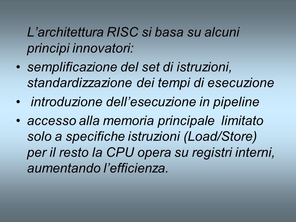 Larchitettura RISC si basa su alcuni principi innovatori: semplificazione del set di istruzioni, standardizzazione dei tempi di esecuzione introduzion